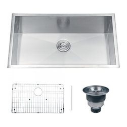 "Ruvati - Ruvati RVH7405 Undermount 16 Gauge 32"" Kitchen Sink Single Bowl - Sure to please any designer with an eye for purism, the Nesta series is defined by square bowls with sharp zero radius corners. The luxurious satin finish and heavy duty sound guard undercoating makes Nesta a perfect choice for your modern kitchen. Rear drain placement and elegant drain grooves add to the functionality of the sink."