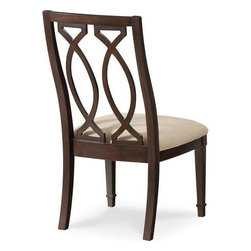 A.R.T. Furniture - A.R.T. Furniture Intrigue Wood Back Dining Side Chair - The sling back dining chairs are generously sized for comfort and elegantly adorned with a double marquise pattern in the wood carved back with a delicate maple inlay. They feature a neutral linen upholstered seat and slim tapered legs with carved collar detail. Integrating a signature A.R.T. quality element of a finished back the chair is equally as attractive from all sides. The arm chair features softly curving arms that nicely complement the curve of the shaped double marquise carved back. Intrigue is defined by its sophisticated transformation of traditional design elements into a soft transitional collection highlighted by bronzed metal textured linen supple leather and sleek stone. Sweeping shapes dramatic veneers exquisite details like maple inlay and hand-applied nail head trim and a signature marquise (pointed oval) shaped motif communicate fresh attitude and create an up-to-the minute appeal.Crisp uncluttered lines combine with traditional touches to reveal a look with order function and versatility for today. A.R.T. Furniture proves their commitment to quality with every piece of furniture they offer. Extra steps are taken throughout the manufacturing process to ensure quality beauty and durability. Using a UV finishing process on A.R.T. Furniture drawer interiors provides the smoothest and most durable finish available from any manufactures. This ensures snag-free storage for even the most delicate hosiery and lingerie. Sophisticated wire management and ventilation solutions are engineered into every A.R.T. piece with media function to aid in ease of set up and to ensure the longest possible life for electronic components. Aromatic red cedar lining in bottom drawers of bedroom storage pieces. Jewelry trays and silverware liners in key bedroom and dining pieces provide for the safe keeping of valuables. English dovetailing has been the standard of quality and fine craftsmanship in drawer construction for over three centuries. All A.R.T. collections feature English dovetailing throughout unless prohibited due to the curve of the drawer. Dust proofing is used on all cases with wood on wood guides to prevent dust and debris from soiling clothes and linens. Drawer Guides Collections developed before 2012 feature wood on wood guides which have been the standard of quality for generations of furniture craftsmen. Modern consumers demand the ease of use and convenience of full-extension drawer guides. In 2012 A.R.T. transitioned to full extension guides to meet this demand. All A.R.T. Furniture collections from 2012 forward offer this feature. Features include Upholstered Seat Softly Curving Arms Exceptional Seating Support Fine Solids and Veneers. Specifications Finish: Hickory Veneers Cola.