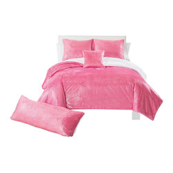 Pem America - Sparkle Mink Pink Comforter Set, Queen - Fun, hot pink look for your room. Full/Queen XL Comforter (90x92 inches) with 2 standard shams (20x26 inches). 100% polyester. Machine washable.