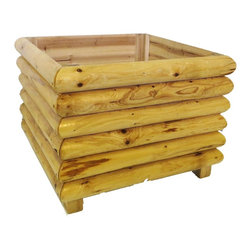 "Master Garden Products - Square Log Wood Planter, 24"" - This log wood style planter provides a frontier rustic look. It is easy to set up with just a few bolts and nuts. Constructed with naturally rot resistant half split cedar log wood, they will last many years in your garden."