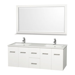Wyndham Collection - Centra White with White Man-Made Stone Top with Porcelain Undermount Sinks - Simplicity and elegance combine in the perfect lines of the Centra vanity by the Wyndham Collection. Dimensions: 60 in.