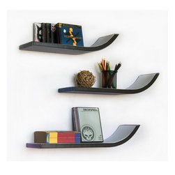 Blancho Bedding - [WeeK Four] Stylish J Type Leather Wall Shelf / Floating Shelf (Set of 3) - These beautifully crafted J Shaped Wall Shelves display the art of woodworking and add a refreshing element to your home. Versatile in design, these leather wall shelves come in various colors and patterns. They spice up your home's decor, and create a multifunctional storage unit for all around your home. These elegant pieces of wall decor can be used for various purposes. It is ideal for displaying keepsakes, books, CDs, photo frames and so much more. Install as shown or you may separate the shelves to create a layout that suits your taste and your style. Each box serves as a practical shelf, as well as a great wall decoration.