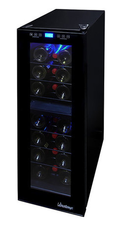 Vinotemp - Vinotemp 21 Bottle Dual-Zone Touch Screen Wine Cooler - Keep your friends close, and your best bottles even closer. This sleek thermoelectric cooler ensures that the stars of your collection will be right where you want them and at their ideal temperature.