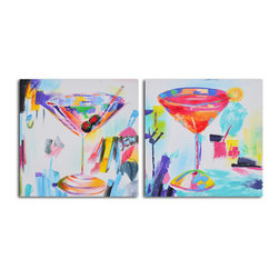 Confetti cocktails Hand Painted 2 Piece Canvas Set - It must be 5:00 p.m. somewhere, right? Hang this playful pair of hand-painted canvas set in your home bar or dining room for a festive pop of art. The side-by-side cocktails will set just the right tone for your next party.