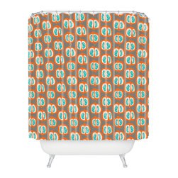 DENY Designs - Mummysam Orange Pomegranate Shower Curtain - Who says bathrooms can't be fun? To get the most bang for your buck, start with an artistic, inventive shower curtain. We've got endless options that will really make your bathroom pop. Heck, your guests may start spending a little extra time in there because of it!