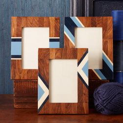 "Two's Company - Indigo Wooden Resin Inlay Photo Frame - The Indigo inlay picture frame set enriches interiors with natural and modern flair. Featuring rustic wood texture, this photo accessory offers contemporary intrigue with blue and ivory stripes. 6.75""W x 8.75""H; Sold individually; Select from three styles; Sheesham wood and resin"