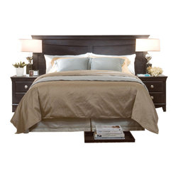 Standard Furniture - Standard Furniture Carlsbad 3-Piece King Headboard Bedroom Set in Espresso - Carlsbad features a modern style through a blend of clean lines and simple adornments. Wood and wood products with simulated wood grain laminates. Group may contain plastic parts. French dovetail drawer construction with roller side drawer guides. Color finish. Dark, pecan color with a rubbed-through appearance surfaces clean easily with a soft cloth.