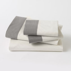 Modern Border Smoke Sheet Set - These white and gray sheets would tie a subdued color scheme together perfectly. The gray border is a great modern touch.