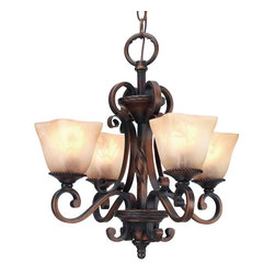 Golden Lighting - Meridian Mini Chandelier - Positively illuminating, this mini chandelier is the perfect fit for smaller dining areas. It even makes a great first impression in your entryway. Flat, scrolling arms are fitted with square, antiqued marbled glass that create just the right amount of mood lighting.