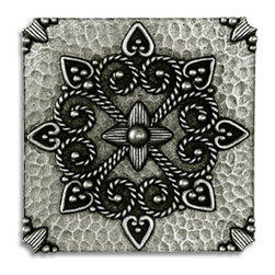 "Compliments Accessories - Medaglione Tile - Old world Florentine design 3x3"" tile in a Pewter finish"