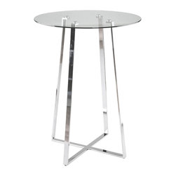 Euro Style - Euro Style Ursula Bar Table // Clear Glass/Chrome - Clear glass top and industrial strength base make Trave the first name in lasting style. The statement is crisp lines and clear strength. Sitting or standing room only!