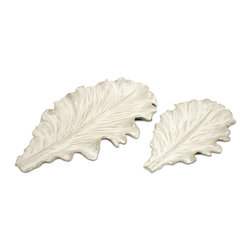 iMax - iMax Clara Leaves Tray - Pack of 2 X-2-26105 - Unique White Ceramic Clara Leaves, set of two