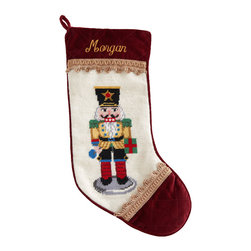 """Horchow - Yellow Nutcracker Christmas Stocking Monogrammed - Yellow Nutcracker Christmas Stocking MonogrammedDetailsShown third from left.Exclusively ours.Handcrafted with wool needlepoint on face.Specify name (up to seven characters/spaces).11""""W x 18""""L.Dry clean.Imported.You will be able to specify personalization details after adding item(s) to your shopping cart. Please order carefully. Orders for personalized items cannot be canceled and personalized items cannot be returned."""