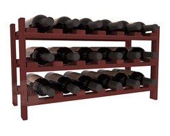 18 Bottle Stackable Wine Rack in Redwood with Cherry Stain - Expansion to the next level! Stack these 18 bottle kits as high as the ceiling or place a single one on a counter top. Designed with emphasis on function and flexibility, these DIY wine racks are perfect for young collections and expert connoisseurs.
