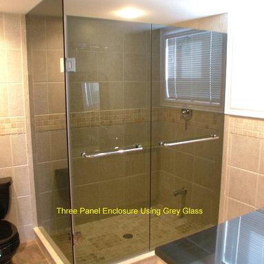 Custom Shower enclosure - grey glass with towel bars