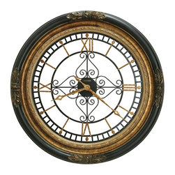 Howard Miller - Rosario Wall Clock In Black Stain Finish Fram - This dramatic 37 in. wall clock features a carved rope and leaf motif with an inner ring finished in aged gold.. The wrought-iron dial with center scroll decor offers applied Roman numerals, markers, and open fret-cut, diamond shaped hands finished in aged gold. Quartz, battery operated movement. Black Satin Finish. Made of Hardwoods and Veneers. Diameter: 37 in.. 3 in. D