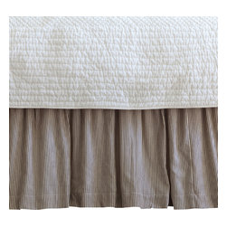 Taylor Linens - Farmhouse Stripe Full Bed Skirt - Wake up to timeless ticking. Brown and cream pinstripes will look great with everything from your cottage floral pillowcases to your modern channel-stitched quilt. Made of 100 percent cotton and machine washable, the bedskirt features a hemstitched edge and gentle ruffles for rest-easy style.