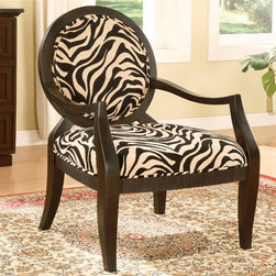 Asia Direct Home - Accent Chair with Zebra Print - Woven Texture with a Zebra print.. Chairs: 26.5 in. W x 28.5 in. D x 38 in. H. Seat: 4.5 in. Thick Cushion, 23 in. D x 26 in. W. Some assembly required.The classic frame accentuates the Zebra stripe fabric to give this chair a unique look and feel. The fully padded back rest provides extra comfort. This arm chair is sure to liven up any decor.