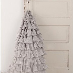 Ruffle Laundry Bag - After a quick wash, this ruffled laundry hamper transforms into an elegant Santa sack.