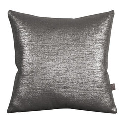 Howard Elliott - Glam Zinc 20 x 20 Pillows - Change up color themes or add pop to a simple sofa or bedding display by piling up the pillows in a multitude of colors, textures and patterns. This Glam Pillow features a Linen-Like texture in a soothing graphite color with a metallic finish