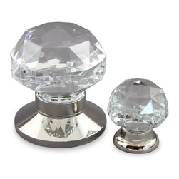 Diamond Cut Clear Crystal door & Cabinet Hardware - Diamond Cut Design, Crystal Door and Cabinet Knobs with Solid Brass Fittings in Polished Nickel Finish.