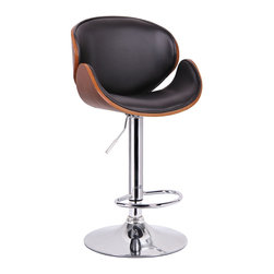 "Baxton Studio - Baxton Studio Crocus Walnut and Black Modern Bar Stool - Curved for comfort and styled to impress, the Crocus Bar Stool loves the limelight.  360 degree swivel and adjustable seat height allow maximum function.  The seat is composed of sturdy, durable plywood and finished with walnut veneer.  Foam padding and black faux leather add ample comfort to this spectacular stool.  Shiny chrome-plated steel for the piston and base add additional contemporary style and a plastic protective ring around the bottom helps to keep damage to your floor at bay.  Made in China; assembly is required.  To clean, wipe with a damp cloth. product dimension:19.5""W x 18""D x 37""-45.25""H, seat dimension:17""W x 14.5""D x 24.25""-32.25""H"