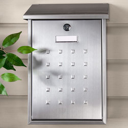 Premium Locking Wall-Mount Mailbox - Stainless Steel - This sophisticated stainless steel mailbox pairs well with any existing outdoor decor. The Premium Locking Wall-Mount Mailbox's hood lifts to reveal its mail slot and the locking feature ensures security.