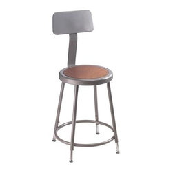 National Public Seating - Science Lab Adjustable Stool w Backrest - 16 rivets on seat to prevent warping. 0.63 in. O.D. foot rings welded to each leg by four contact points at each leg for added rigidity. Adjustable with vinyl padded backrest. Adjusts up or down and forward or back. Steel contains 30-40% of post-consumer waste (recycled). Meets ANSI and BIFMA standards. Warranty: Five years for material. Made from 0.88 in. O.D. 18-gauge steel tubing. Seat height: 19 - 27 in.. Backrest: 12 in. W x 6 in. H. Overall: 16.5 - 20.5 in. W x 32 - 41.5 in. H (17 lbs.)