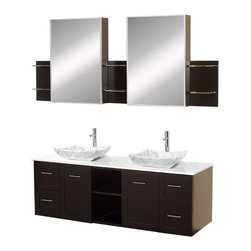 Avara 60 Wall Mounted Double Bathroom Vanity Set Espresso - Make a statement with the Avara double vanity, and add a twist of the transitional to an otherwise modern classic.