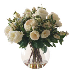 Winward - Rose In Glass Flower Arrangement - Everyone loves a generous bouquet of white roses ... until they start to droop, brown and drop their petals. Save yourself the heartache and go for a permanent display of your favorite flower. They'll make a striking statement on your dining room table all year long.