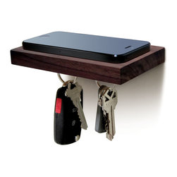 iLoveHandles - PLANK Floating Magnetic Shelf, Walnut - Phone. Wallet. Keys. Sunglasses. Keep all your essentials on this small floating shelf with a magnetic underside. The magnet is on the bottom only and does not affect anything placed on the shelf.