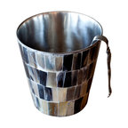 BoBo's Intriguing Objects - Horn Ice Bucket - Clothed in an earthy mosaic of natural horn chips and lined with lustrous stainless steel, this ice bucket looks like it was made for your rustic-chic bar. Rugged yet stylish, like a well-dressed cowboy, it serves you up a cold drink with hat-tipping charm.