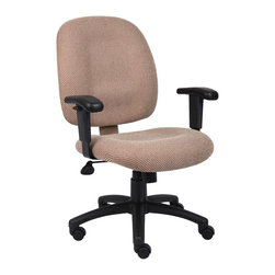 BossChair - Boss Chestnut Fabric Task Chair with Adjustable Arms - Mid-back styling with firm lumbar support. Elegantly upholstered in Chenille fabric. 25 nylon base. Hooded double wheel casters. Pneumatic gas lift seat height adjustment. Adjustable tilt tension control. Available in multiple fabrics and finishes.