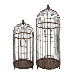 "Benzara - Metal Bird Cage - Set of 2 42"", 32""H Garden Decor - Size: Large: 16 Wide x 16 Depth x 42 High, Small 13 Wide x 13 Depth x 32 High (Inches) ; Material: Premium grade metal alloy ; Color: Brown ; Powder coated; Trendy and stylish; Upgrades garden, lawn or entrance decor appearance"