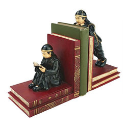 EttansPalace - Gentlemen Asian Scholars Bookend Statues - In moments of quiet contemplation, these two Asian scholars read or recline on the same subjects they study! Cast in quality designer resin and hand-painted in full color with metallic faux gold accents, piles of faux leather books are anchored by a pair of gentlemen scholars in traditional costume. A unique anchor for treasured art books in a gallery and a unique gift for the world traveler, this pair is unique enough to stand on their own as sculpture!