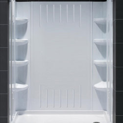 "DreamLine - DreamLine SlimLine 36"" by 60"" Single Threshold Shower Base Right Hand - DreamLine combines a SlimLine shower base with coordinating shower backwall panels to create a convenient kit that can transform a shower space. The SlimLine shower base incorporates a low profile design for a sleek modern look. The wall panels have a tile pattern and are easy to install with a trim-to-size fit. Both the shower panels and shower base are made from durable and attractive Acrylic/ABS advanced materials. DreamLine kits offer an ideal solution for any bathroom renovation project. Items included: 36 in. x 60 in. Single Threshold Shower Base and QWALL-3 Shower Backwall KitOverall kit dimensions: 36 in. D x 60 in. W x 75.625 in. H36 in. x 60 in. Single Threshold Shower Base:,  High quality scratch and stain resistant acrylic,  Slip-resistant textured floor for safe showering,  Integrated tile flange for easy installation and waterproofing,  Fiberglass reinforcement for durability,  cUPC certified,  Drain not included,  Center, right, left drain configurationsQWALL-3 Shower Backwall Kit:,  Color: White,  Assembly required,  6 integrated corner shelves,  2 convenient corner foot rests,  Unique water tight connection of 2 sidewalls, 2 corner panels and 1 back panel,  Trim-to-Size sidewall designed for shower base installation from 29 7/8 in. to 40 1/2 in.,  Height of glass should not exceed 72 7/8 in.,  These acrylic wall systems are specially designed to be installed over existing solid surface not directly against the studsProduct Warranty:,  Shower Base: Limited lifetime manufacturer warranty,  Shower Backwalls: Limited 1 (one) year manufacturer warranty"