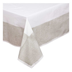 Mia + Finn - Elias Ash Grey Tablecloth - A handsome alternative to the common white tablecloth, this version is made of machine-washable cotton poplin, and features a pinstripe border that's been block-printed by hand, resulting in subtle variations that are a hallmark of this age-old process.
