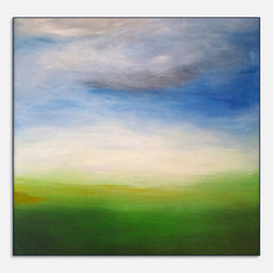 Original Abstract Landscape Canvas Modern Acrylic Painting - 24x24 - Blues, Whit - Dimensions :24''x24'' profile of 1.5''