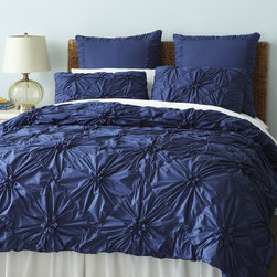 Indigo Savannah Duvet Cover - How luxe is this ruched bedding from Pier 1 Imports? It makes me want to cozy in.