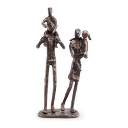 Danya B. - Parents Carrying Children Bronze Sculpture - Commemorate family with this handcrafted sculpture representing a family of 4. Made using the sand-casing method, this artistic piece reminds us of the closeness and joy of family.