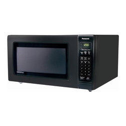 "Panasonic - Full Size Luxury Microwave Oven in Black - This spacious luxury microwave has 1250 Watts of power with inverter turbo defrost and 2.2 cubic feet of space. Panasonic Inverter Turbo Defrost technology is an advanced microwave sequencing system using the Inverter low-power delivery feature. This design makes it possible to distribute microwave energy with the most appropriate combination of regularity and irregularity. Keep warm and simmer features help you keep your food warm until you are ready to eat. A pulsing delivery of very low microwave power keeps the temperature of your food at a constant level without overcooking. The improved keep-warm menu now includes five items, so food like stew, gravy and desserts can stay warm in the oven until you are ready to serve. One-Touch Sensor Cooking adjusts power levels and calculates cooking times automatically, making reheating and cooking a variety of foods easier than ever. Features: -Color: Black. -Inverter turbo defrost technology which allows you to defrost foods even faster than previous Panasonic Auto Defrost. -Keep warm and simmer feature allows you to keep food warm without overcooking. -Cook-a-round automatic turntable. -Popcorn key for easy popcorn popping. -One-touch sensor cooking with 18 categories. -One-touch sensor reheat. -Multi lingual menu action screen with function key. -5 cooking stages. -Quick minute / add minute feature. Specifications: -1250 Watts. -2.2 cubic foot with 16.5"" diameter turntable. -Dimensions: 14 H x 23.88 W x 19.44 D."
