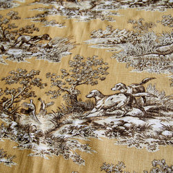 Dog fabric retriever gold toile pheasant fall - A retriever bird dog fabric. A bird dog pheasant fall gold toile fabric. If you need a lodge fabric or cabin fabric this is perfect!