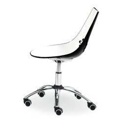 Calligaris - Jam 2-Tone Modern Office Chair with Casters ( - Color: Transparent GreenPictured in Glossy Black. Chromed base. Funky modern look. Brightly colored chair with 4 legs. Suitable for homes, studios and living areas. Features a two-tone technopolymer shell. Glossy white seat area. Vibrantly colored back. Oval holes in the backrest add to a distinctive design. Height-adjustable metal frame. Swivel base. Soft rubber castors. Assembly required. Seat height: 17.375 - 20.875 in.. 24.875 in. W x 24.5 in. D x 32 - 35.5 in. H