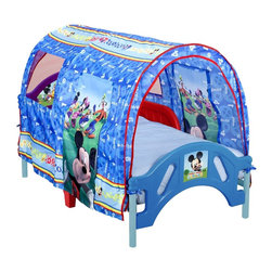 Delta Enterprise Mickey Mouse Toddler Tent Bed - Go camping with Mickey Mouse every night in this tent-shaped toddler bed. It includes two removable railings for added safety and sits low to the ground for easy access.