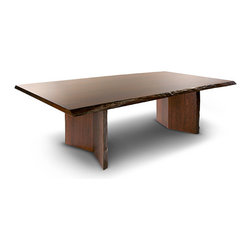 Woodcraft - Arcadia Live Edge  Dining Table - This handsome dining table, constructed of solid cherry with a deep brown cherry stain, will add gravitas and sophistication to your dining room. You'll love the refined details, like the angled pedestals and the raw wood beveled edge that runs all around this sumptuous table.