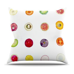 "Kess InHouse - Theresa Giolzetti ""Fruit"" Multicolor Food Throw Pillow (16"" x 16"") - Rest among the art you love. Transform your hang out room into a hip gallery, that's also comfortable. With this pillow you can create an environment that reflects your unique style. It's amazing what a throw pillow can do to complete a room. (Kess InHouse is not responsible for pillow fighting that may occur as the result of creative stimulation)."