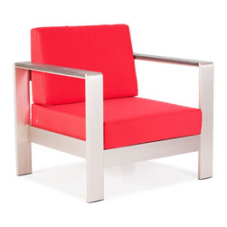 Zuo Modern - Cosmopolitan Armchair Cushions Red - Metallic and natural, seductively combined to create the sexy Cosmopolitan armchair. The frame is forged from aluminum and the wood slats are teak. The cushions are UV and water resistant. Sit back, relax, and let mother nature take care of you.