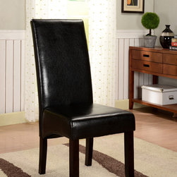 None - K&B Black Leatherette Parson Chairs (Set of 2) - Add traditional style to your home with these sleek faux-leather Parson chair. Featuring espresso finish solid wood legs and a black faux-leather upholstery, this set of two chairs will add seating and depth to your dining room decor.