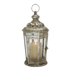 Antique Themed Metal Glass Lantern - Description: