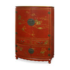 """China Furniture and Arts - Chinoiserie Scenery Design TV Armoire - 18th-century pavilion and mountain peak motifs are magnificently hand painted in gold Chinoiserie against a rich satin red finish. The design continues along the sides of this wooden TV cabinet. The main compartment measures approximately 38""""W x 18""""D x 25""""H, with a 5""""H built-in shelf. The lower double door compartment (interior 38""""W x 21""""D x 12""""H) features a removable shelf for storage convenience. Two drawers (each 16.75""""W x 15.75""""D x 4.75""""H interior) in the middle provide additional storage space for small media components. Hand-forged solid brass hardware. Additional media cable outlets can be made upon request. Assembled."""